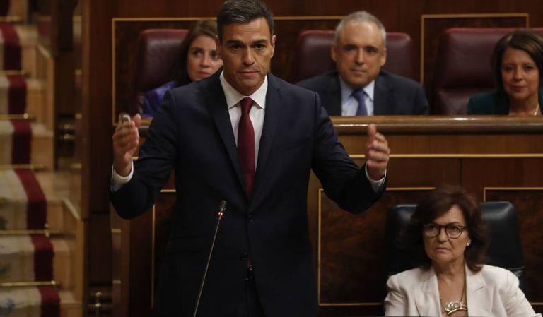 Pedro Sánchez in Congress today.