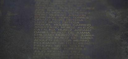 Catalina Muñoz's name on a memorial to the victims of the Franco repression in Palencia.