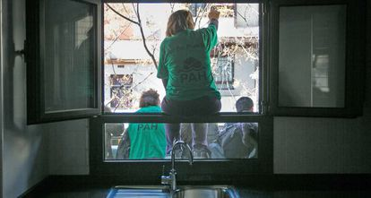 Anti-eviction activists occupying a residential building in Barcelona.