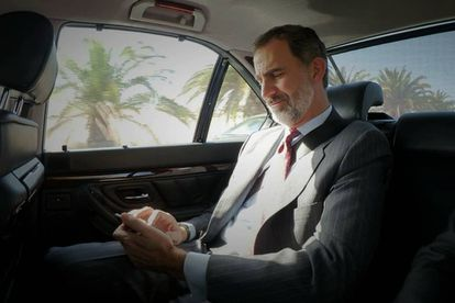 King Felipe pictured in his official vehicle.