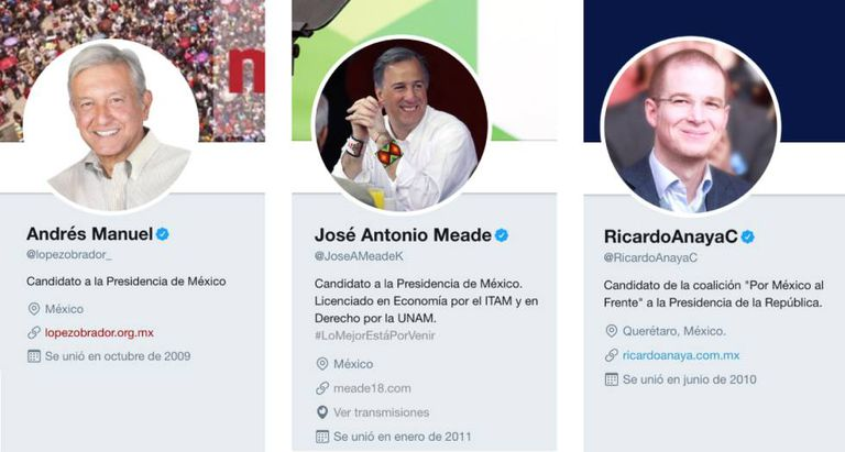 The three Mexican presidential candidates that are leading the polls.