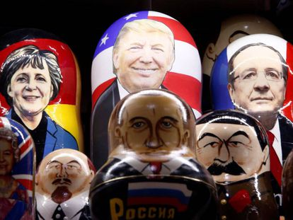 Matryoshka dolls painted with the faces of Donald Trump, Vladimir Putin and other European leaders.