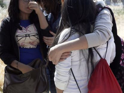 Students gather at Ciudad de Jaén High School on Monday.
