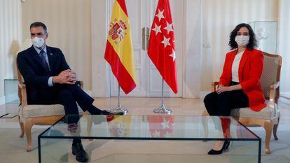 Spanish Prime Minister Pedro Sánchez and Madrid premier Isabel Díaz Ayuso on Monday.