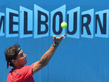 Rafael Nadal during a practice session at Melbourne Park on Friday.