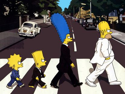 Dub steps: Homer, Marge, Bart and Lisa.