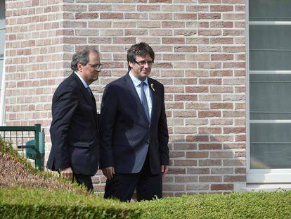 Catalan premier Quim Torra with ex-leader Carles Puigdemont in Waterloo last July.