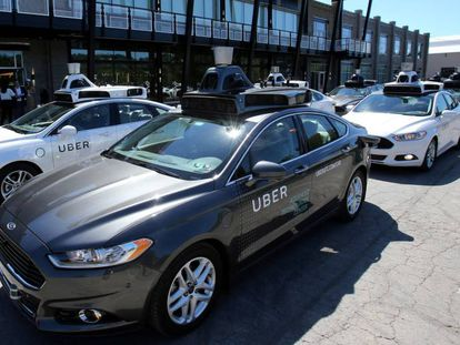A fleet of Uber taxis in Pittsburgh.