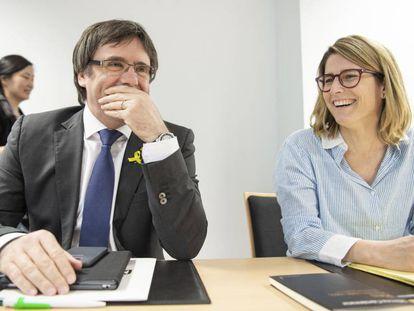 Former Catalan premier Carles Puigdemont and deputy Elsa Artadi, in Berlin this weekend.