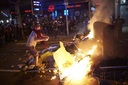 A barricade set on fire during protests in Barcelona last week.