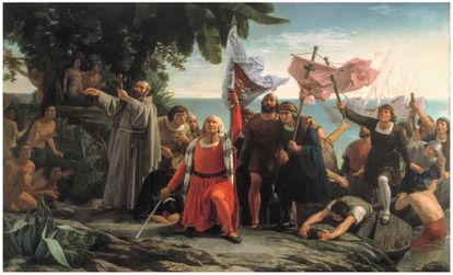 The painting 'First landing of Christopher Columbus in America' (1862), by Dióscoro Teófilo Puebla y Tolín, from Prado Museum collection.