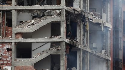 The site of the explosion in Madrid today.