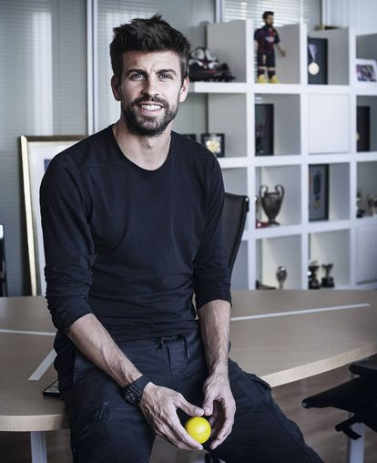 A collection of trophies adorns Piqué's office in Kosmos Global Holding.