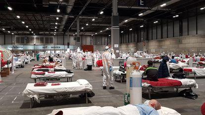 The field hospital set up at Ifema, Madrid's exhibition center.