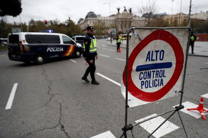 A security perimeter around Atocha station in Madrid on Friday.