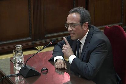 Former Catalan minister Josep Rull speaking at the Supreme Court on Wednesday.