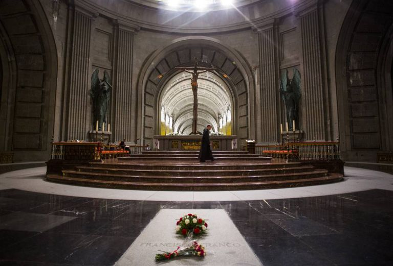 The tomb of Francisco Franco inside the basilica of the Valley of the Fallen.