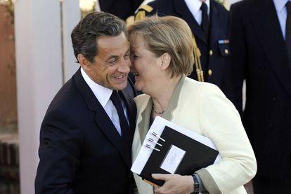 Nicolas Sarkozy and Angela Merkel in Deauville, France.