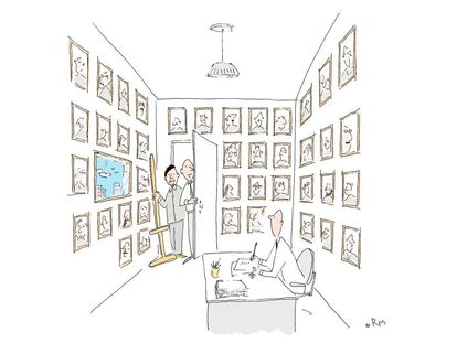 - Our corporate artist is going to paint your portrait, like all the other illustrious men who have occupied this office with a window