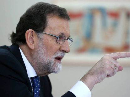 Prime Minister Mariano Rajoy during the interview with EL PAÍS.