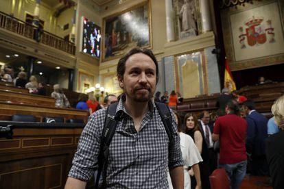 Podemos leader Pablo Iglesias in Congress last week.