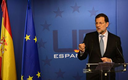 Spanish Prime Minister Mariano Rajoy gives a press conference in Brussels.