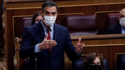 Spanish PM Pedro Sánchez addresses Congress during question time on Wednesday.