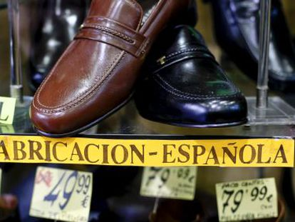 """More and more stores throughout the country are displaying """"Made in Spain"""" signs to attract customers."""
