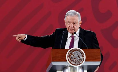 The Mexican president Andrés Manuel López Obrador during one of his morning conferences.