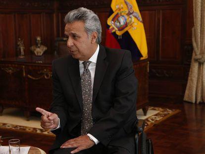 The president of Ecuador, Lenín Moreno, during his interview with EL PAÍS.