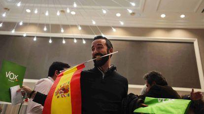 Vox president Santiago Abascal celebrating on Sunday.