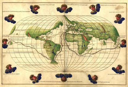 Map of the Magellan route from a Battista Agnese atlas (1544).