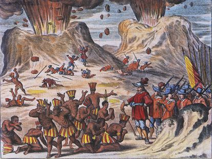 An 18th-century depiction of the clashes between Hernán Cortés's soldiers and Tlaxcala community.