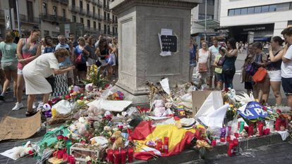 One of the memorials to the victims of the terror attack in Barcelona.