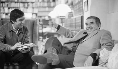 García Márquez at his home in Mexico City after winning the Nobel Prize.