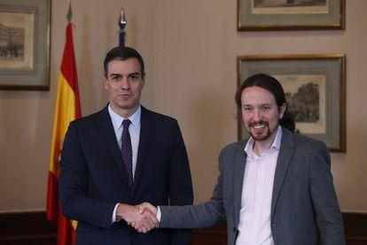 Caretaker Prime Minister Pedro Sánchez and Unidas Podemos leader Pablo Iglesias on Tuesday.