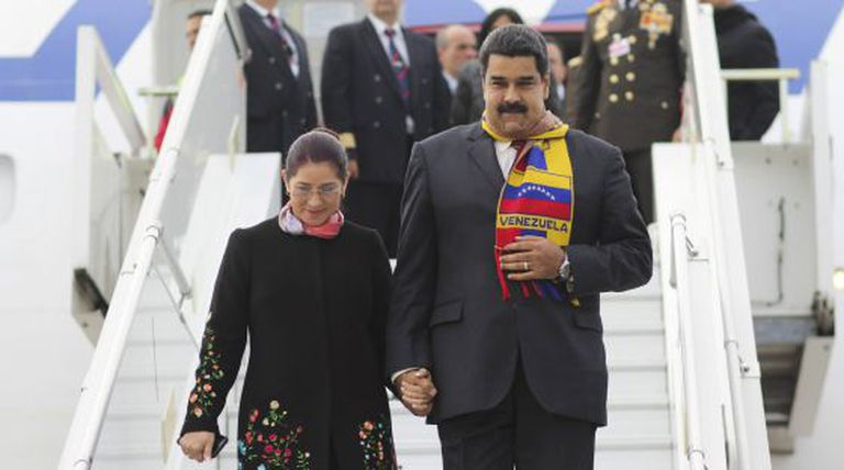 President Nicolás Maduro and Cilia Flores arrive in Geneva on Thursday.