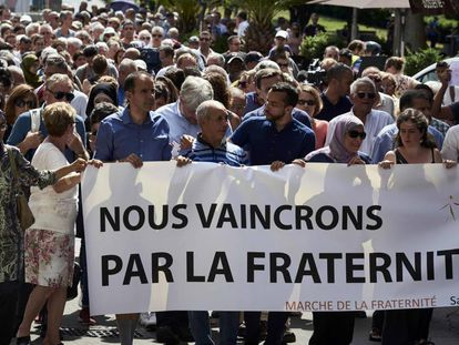 A demonstration in Lyon on Saturday organized by the local Muslim Council.