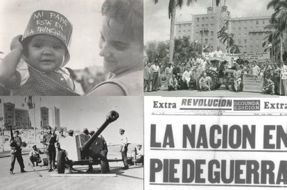 Top left and bottom: images taken during the Cuban Missile Crisis of 1962. Top right: a tractor donated by employees of the Hotel Nacional during the Land Reform of 1961.