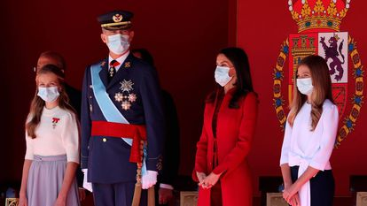 The Spanish royal family at an event to celebrate Spain's National Day on October 12.