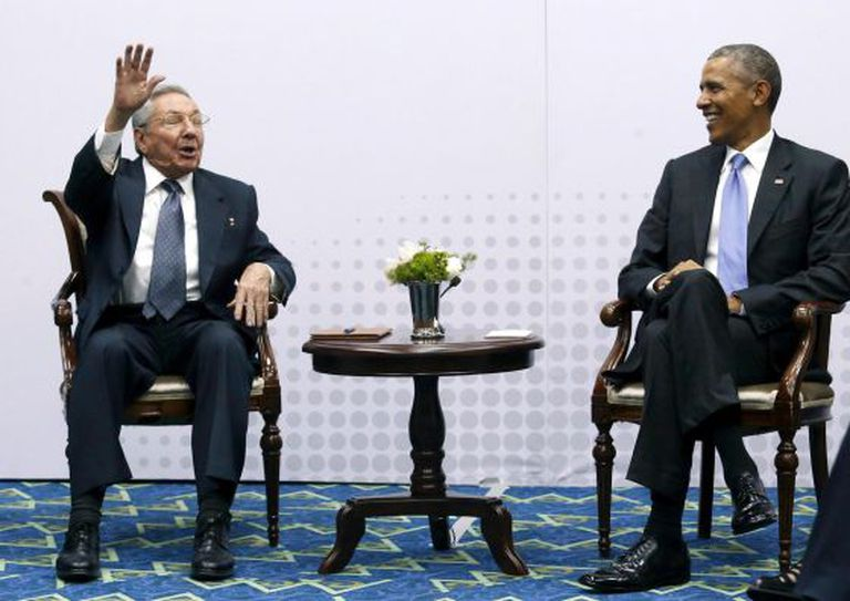 Raúl Castro and Barack Obama at the Summit of the Americas in Panama in April.