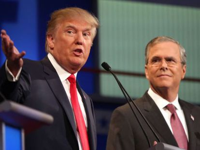 Trump (left) and Jeb Bush during a debate on August 16.