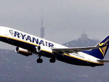 A Ryanair flight takes off from El Prat airport in Barcelona.