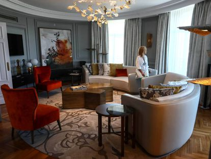 The royal suite at the Palace Hotel in Madrid.