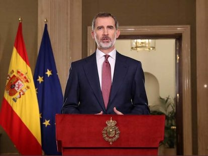 King Felipe VI delivers a national address on the coronavirus crisis.