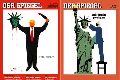 Edel Rodriguez's covers for the German magazine 'Der Spiegel' featuring Donald Trump and Joe Biden.