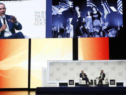 Former US president Barack Obama speaking at the WTTC summit in Seville.