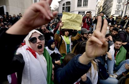 Youngsters protest in Algeria in 2019 for fair presidential elections.