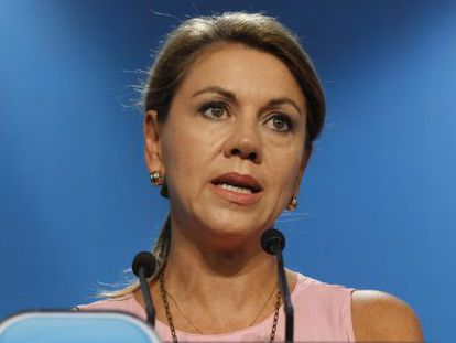 PP secretary general María de Cospedal at a news conference on September 23.