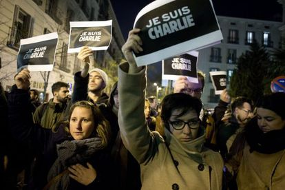 A protest in Madrid against the 'Charlie Hebdo' terrorist attack.